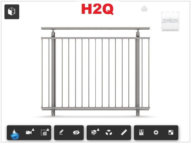 Zábradlí H02Q čelní kotvení