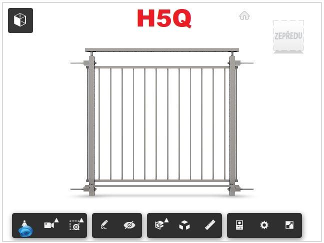 Zábradlí H5Q čelní kotvení