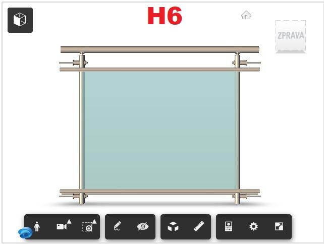 Zábradlí H6 čelní kotvení